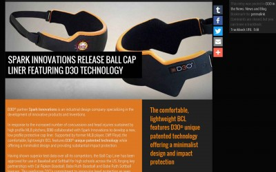 SPARK INNOVATIONS RELEASE BALL CAP LINER FEATURING D3O TECHNOLOGY